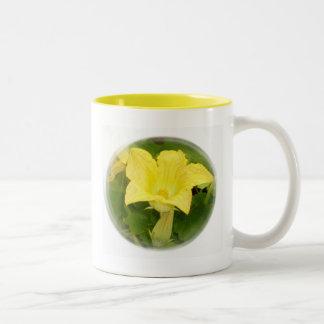 Zucchini Blossom in Swirl Two-Tone Coffee Mug