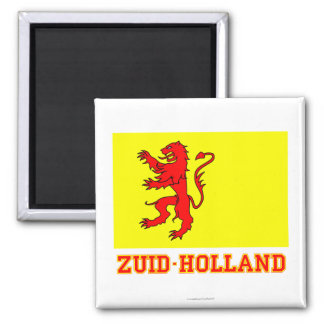 Zuid-Holland Flag with name 2 Inch Square Magnet