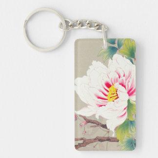 Zuigetsu Ikeda Pink Camellia japanese flower art Double-Sided Rectangular Acrylic Keychain