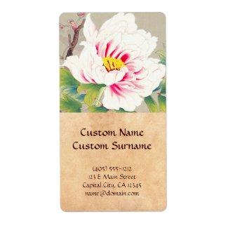 Zuigetsu Ikeda Pink Camellia japanese flower art Labels