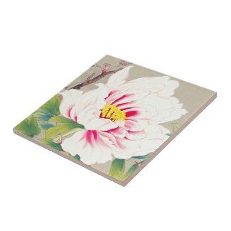 Zuigetsu Ikeda Pink Camellia japanese flower art Tiles