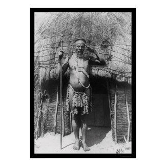 Zulu Chief South Africa 1897 Print