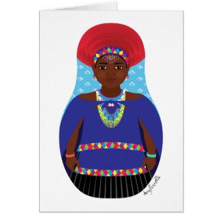 Zulú, tarjeta surafricana de Matryoshka