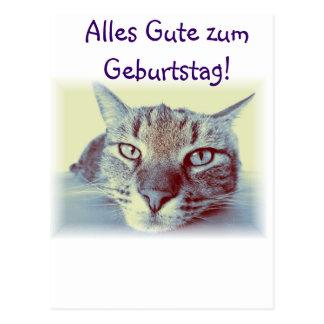 Zum Geburtstag Glückwünsche Karte Katze de Alles G Tarjeta Postal