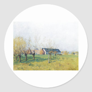 Zum Höllenkaff 1874 de Alfred Sisley Bauernhof Pegatina Redonda