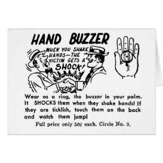 Zumbador de la mano del truco mágico de la mordaza tarjetón
