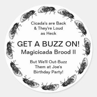 Zumbido adaptable de la fiesta de cumpleaños del pegatina redonda