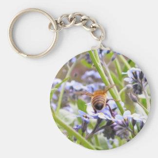¡Zumbido!  Parte trasera de la abeja ocupada Llavero Redondo Tipo Pin