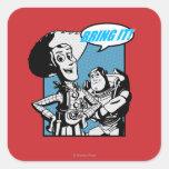 Zumbido y Woody: Tráigalo Pegatina Cuadrada
