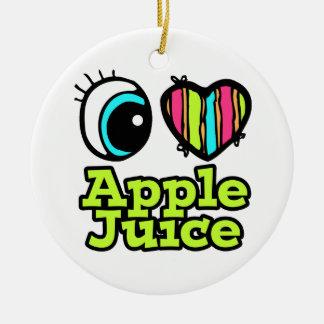Zumo de manzana brillante de amor del corazón I Adorno Redondo De Cerámica