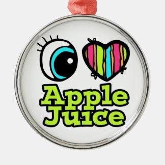 Zumo de manzana brillante de amor del corazón I Adorno Redondo Plateado