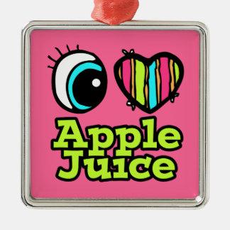 Zumo de manzana brillante de amor del corazón I Adorno Cuadrado Plateado