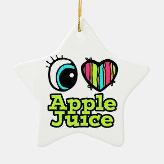 Zumo de manzana brillante de amor del corazón I Adorno De Cerámica En Forma De Estrella