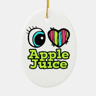 Zumo de manzana brillante de amor del corazón I Adorno Ovalado De Cerámica