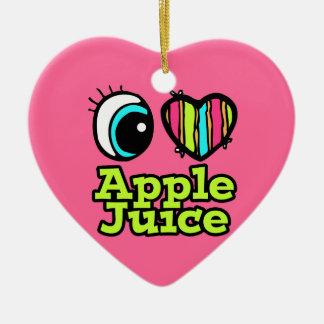 Zumo de manzana brillante de amor del corazón I Adorno De Cerámica En Forma De Corazón