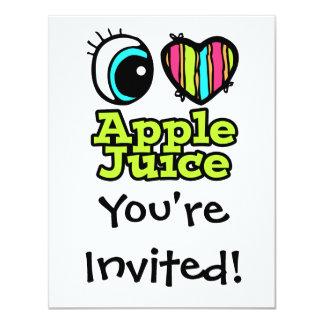 """Zumo de manzana brillante de amor del corazón I Invitación 4.25"""" X 5.5"""""""