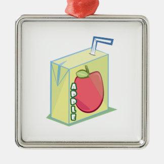 Zumo de manzana adorno cuadrado plateado