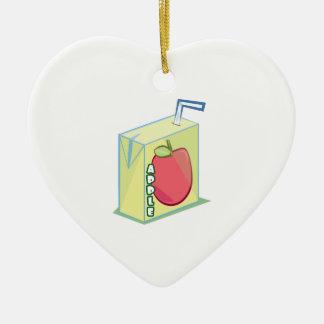 Zumo de manzana adorno de cerámica en forma de corazón
