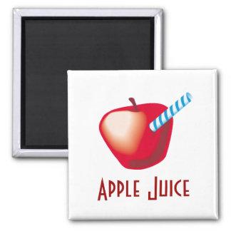 Zumo de manzana imán cuadrado