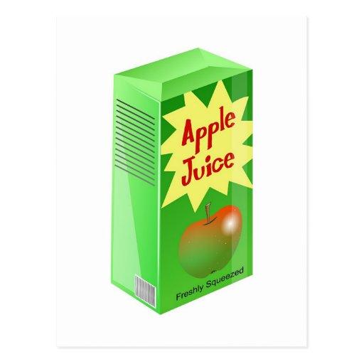Zumo de manzana tarjetas postales