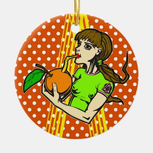 Zumo de naranja de la bebida ornamente de reyes