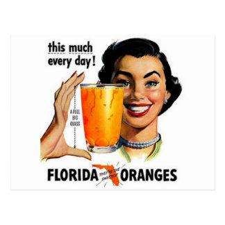 Zumo de naranja de la Florida Tarjetas Postales