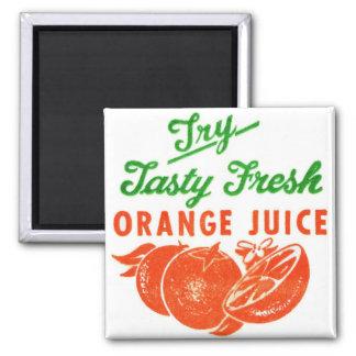 Zumo de naranja fresco sabroso del vintage del int imán cuadrado