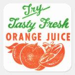 Zumo de naranja fresco sabroso del vintage del int calcomania cuadradas personalizada