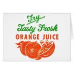 Zumo de naranja fresco sabroso del vintage del int tarjetón