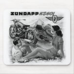 Zundapp Vintage Motorcycle Sidecar Ad Art Mouse Pad