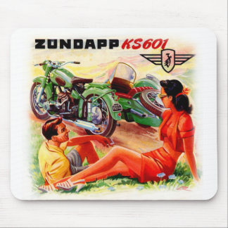 Zundapp Vintage Motorcycle Sidecar Ad Art Mouse Pads