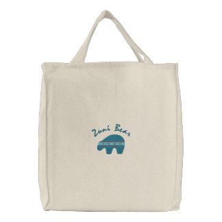 Zuni Bear Native American Symbol Design 1 Embroidered Bags