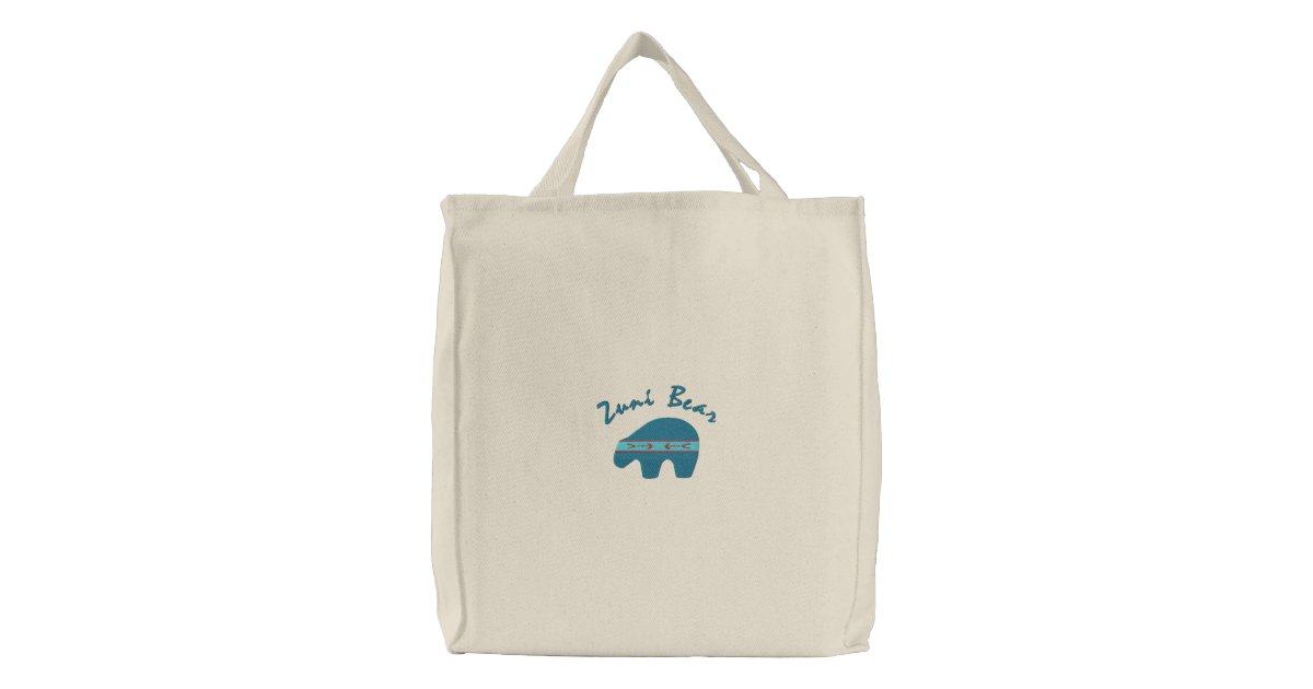 Zuni Bear Native American Symbol Design 1 Embroidered Tote Bag