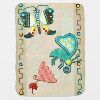 Zuni Butterfly 2 Folk Art Stroller Blanket