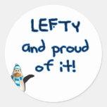 ¡Zurdo y orgulloso! Con el pingüino en azul y Etiquetas Redondas