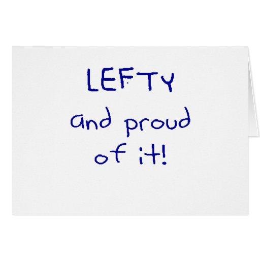 ¡Zurdo y orgulloso de él! En texto azul Tarjeta De Felicitación