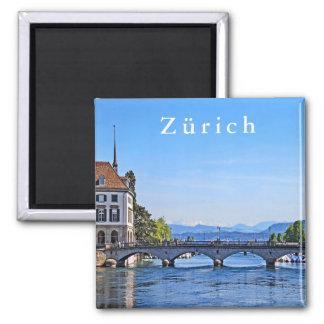 Zurich. Limmat. City Hall and Bridge. Magnet