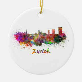 Zurich skyline in watercolor ceramic ornament