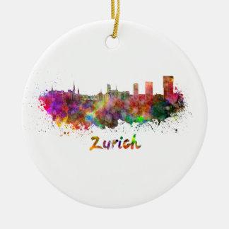 Zurich skyline in watercolor ceramic ornament