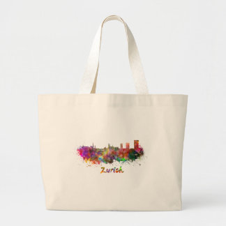 Zurich skyline in watercolor large tote bag