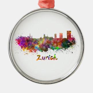 Zurich skyline in watercolor metal ornament