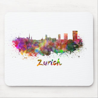 Zurich skyline in watercolor mouse pad