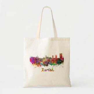 Zurich skyline in watercolor tote bag