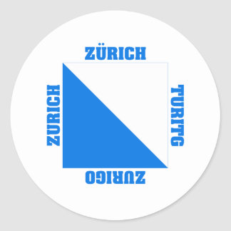 Zurich Switzerland Canton Flag Classic Round Sticker
