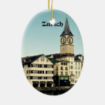 Zurich, Switzerland Double-Sided Oval Ceramic Christmas Ornament