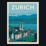 "Zurich, Switzerland Postcard<br><div class=""desc"">Anderson Design Group is an award-winning illustration and design firm in Nashville,  Tennessee. Founder Joel Anderson directs a team of talented artists to create original poster art that looks like classic vintage advertising prints from the 1920s to the 1960s.</div>"
