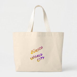 Zürich world city, colorful text art large tote bag