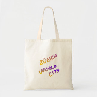 Zürich world city, colorful text art tote bag
