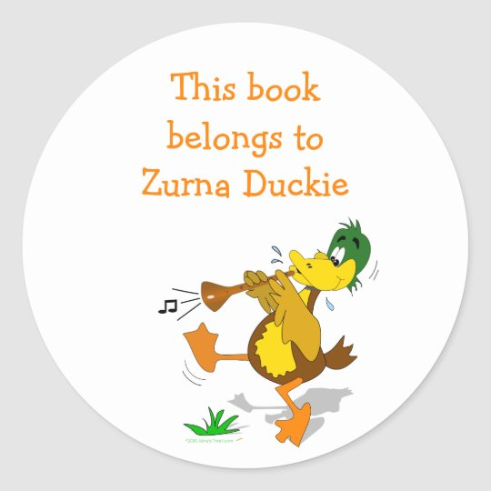 Zurna Duck Personalized Bookplate Sticker Template