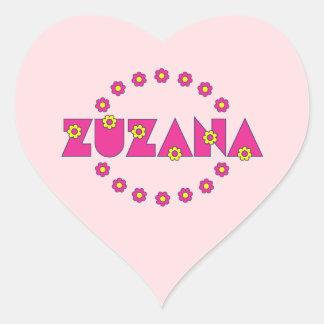 Zuzana Flores Pink Heart Sticker